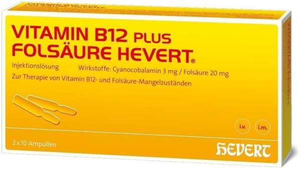 Vitamin B12 Folsäure Hevert Amp.-Paare 2 X 10 Ampullenpaare