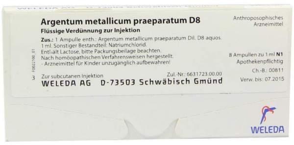 Argentum Metallicum Praep. D 8 Ampullen