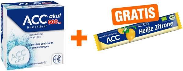 ACC akut 600 mg Hustenlöser 40 Brausetabletten + gratis Heiße Zitrone Bio Stick 1 Stück