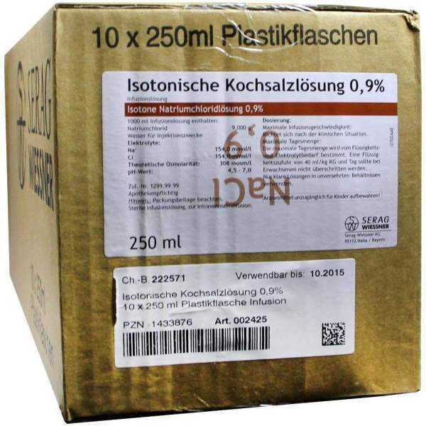 Kochsalzlösung 0,9% Plastik 10 X 250 ml Infusionslösung