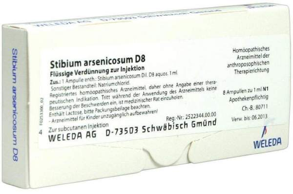 Stibium arsenicosum D 8 Weleda 8 x 1 ml Ampullen