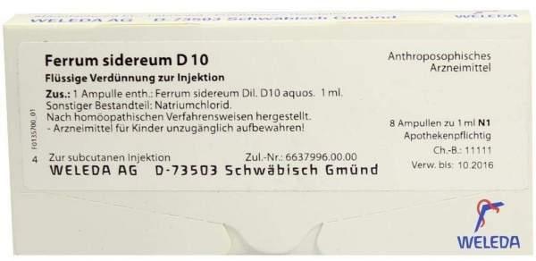 Ferrum sidereum D 10 Weleda 8 x 1 ml Ampullen