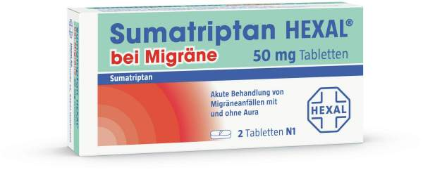 Sumatriptan Hexal bei Migräne 50 mg 2 Tabletten