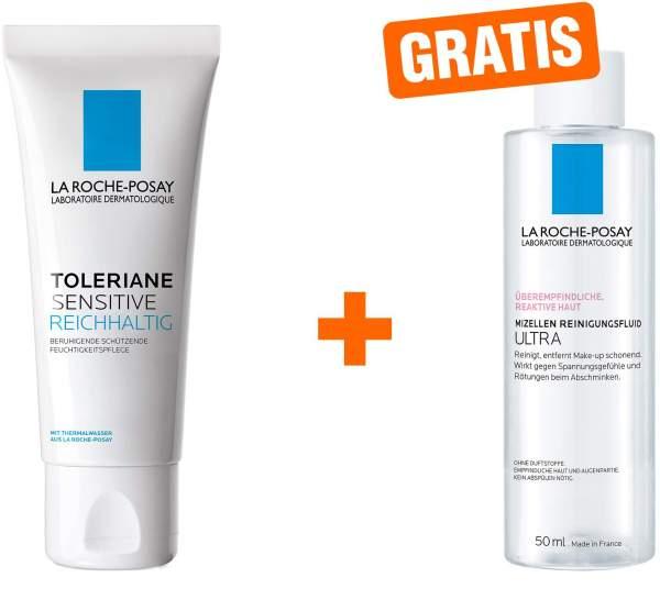 La Roche Posay Toleriane Sensitive reichhaltig 40 ml + gratis Reactive Mizellen Reinigungsfluid 50 ml