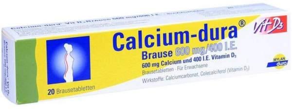 Calcium Dura Vit D3 Brause 600 mg 400 I.E 20 Brausetabletten