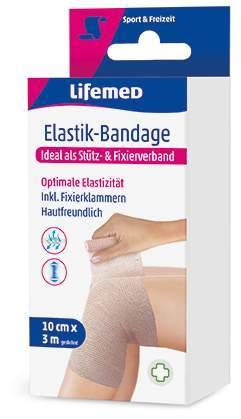 Elastik-Bandage 10 cm x 3 m, inkl. Fixierklammern