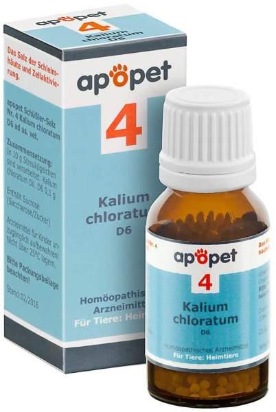 Apopet Schüßler Salz Nr. 4 Kalium Chloratum D 6 Vet 12 G Globuli