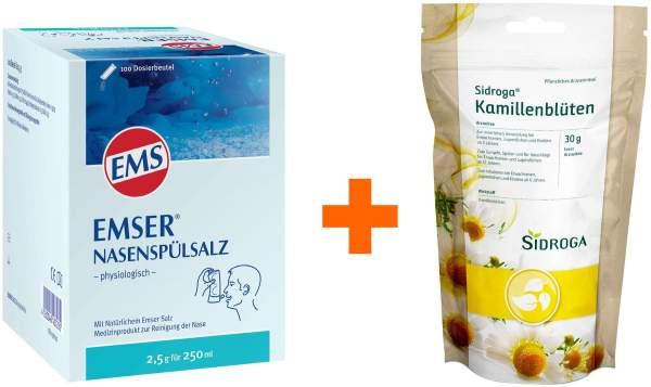 Emser Nasenspülsalz physiologisch 100 Beutel Pulver + Sidroga Kamillenblüten loser Arzneitee 30 g