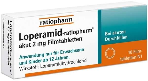 Loperamid-ratiopharm akut 2 mg - 10 Filmtabletten