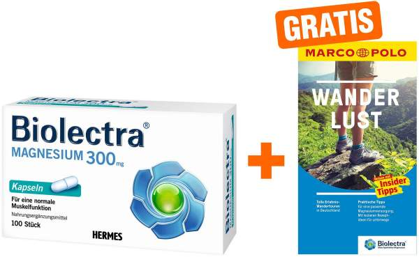 Biolectra Magnesium 300 mg 100 Kapseln + gratis Marco Polo Wanderführer