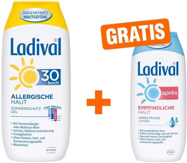 Ladival Sonnenschutz Gel Allergische Haut LSF 30 200 ml Gel + gratis Empfindliche Haut 200 ml Après Lotion