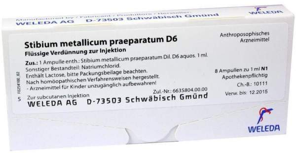 Weleda Stibium Metallicum Praeparatum D6 8 X 1 ml