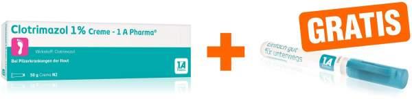 Clotrimazol 1% Creme 1A Pharma 50 g + gratis Desinfektionsmittel 10 ml