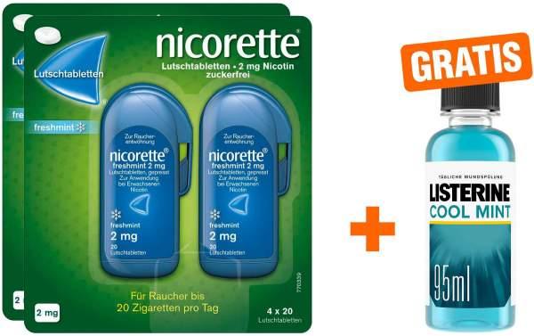 Nicorette Freshmint 2 mg 2 x 80 Lutschtabletten + gratis Listerine Cool Mint 95 ml
