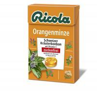 Ricola ohne Zucker Box Orangenminze Bonbons 50g