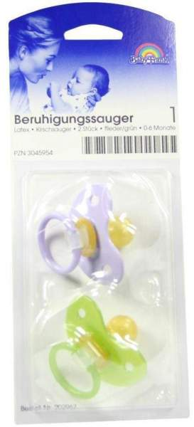 Sauger Kirschförmig Latex Gr.1 0-6 Monate Flieder Grün 2 Stück