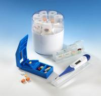 Pillenbox-Rund 7 Tage + Tablettenschneider+ gratis Thermometer mit flexibler Spitze