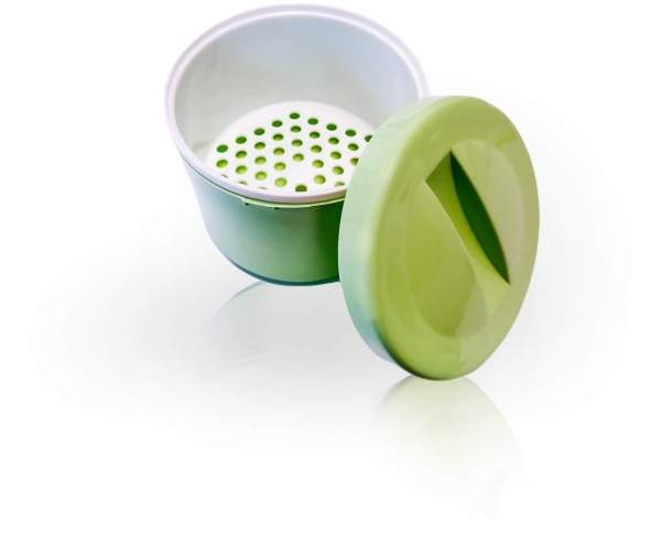 Prothesenbehälter Kunstoff Deckel und Einsatz Grün 1 Stück