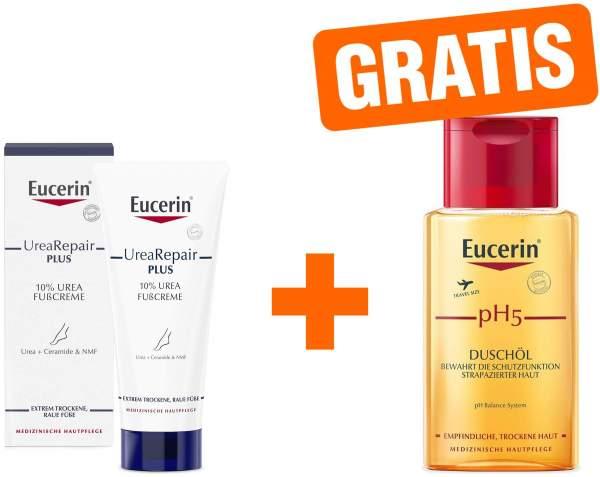 Eucerin UreaRepair Plus Fußcreme 10% 100 ml + gratis pH 5 Duschöl 100 ml