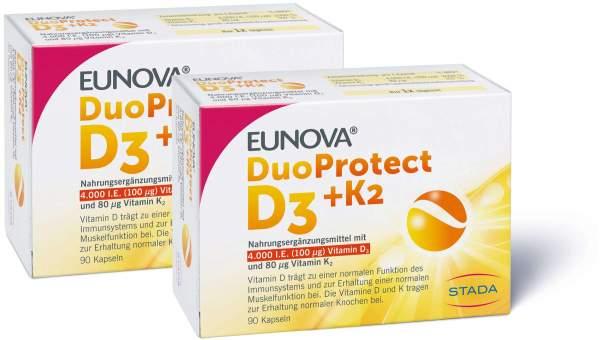 Eunova DuoProtect D3 + K2 4000 I.E. 2 x 90 Kapseln