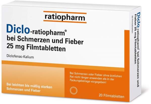 Diclo-ratiopharm bei Schmerzen und Fieber 25 mg 20 Filmtabletten