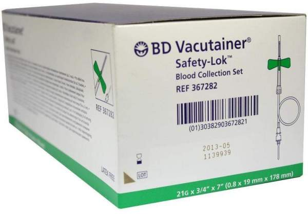 Bd Vacutainer Safety Lok 21 G 18 cm Blutentnahme Set 50 Kanüle