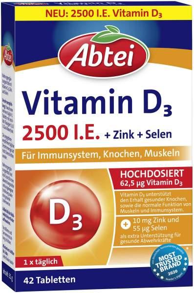 Abtei Vitamin D3 Forte 2.500 I.E. 42 Tabletten