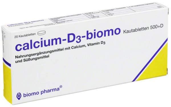 Calcium D3 Biomo Kautabletten 500 mg + Vitamin D 20 Kautabletten