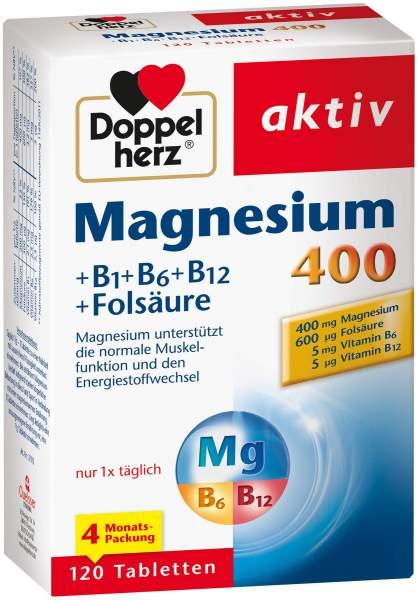 Doppelherz Magnesium 400 + B1 + B6 + B12 + Folsäure 120 Tabletten