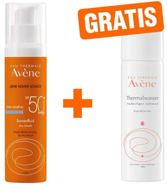 Avene Sunsitive Sonnenfluid SPF50+ 50 ml + gratis Thermalwasser Spray 50 ml
