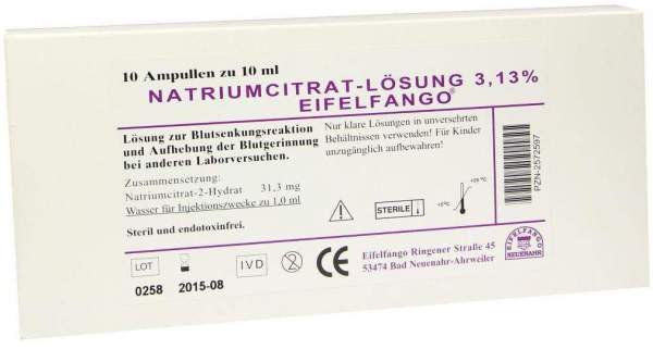 Natrium Citricum 3,13% 10 X 10 ml Ampullen