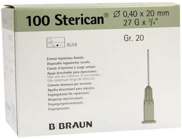 Sterican Kanülen Luer-Lock 27 G x 3°4 0,40 x 20 mm Gr.20 grau 100 Kanülen