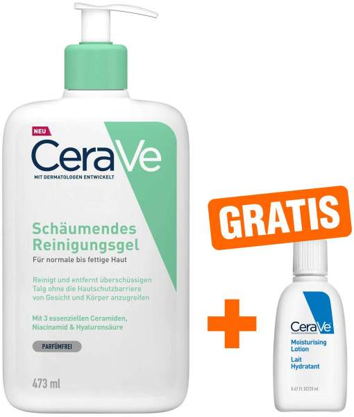 CeraVe schäumendes Reinigungsgel 473 ml + gratis Feuchtigkeitslotion 20 ml
