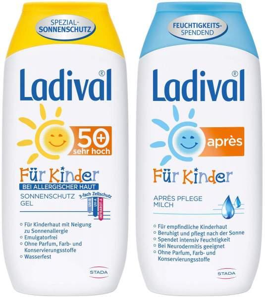 Ladival Sonnenschutz Gel bei Allergischer Haut für Kinder LSF 50+ 200 ml + Après Pflegemilch für Kinder 200 ml Lotion
