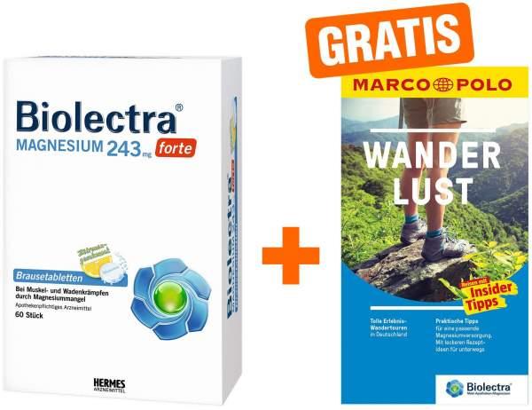 Biolectra Magnesium 243 mg forte Zitronengeschmack 60 Brausetabletten + gratis Marco Polo Wanderführer