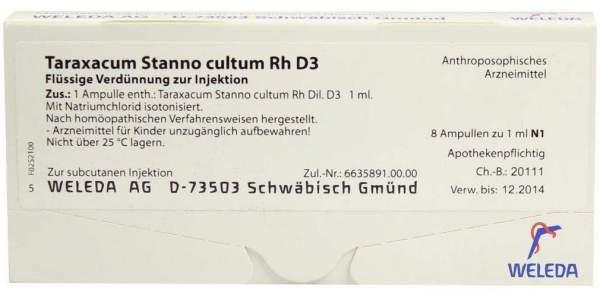 Taraxacum Stanno cultum Rh D 3 Weleda 8 x 1 ml Ampullen