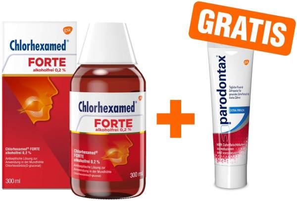 Chlorhexamed Forte alkoholfrei 0,2% 300 ml Lösung + gratis Parodontax 20 ml Zahncreme