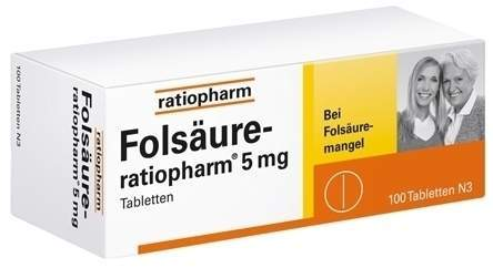 Folsäure-ratiopharm 5 mg 100 Tabletten