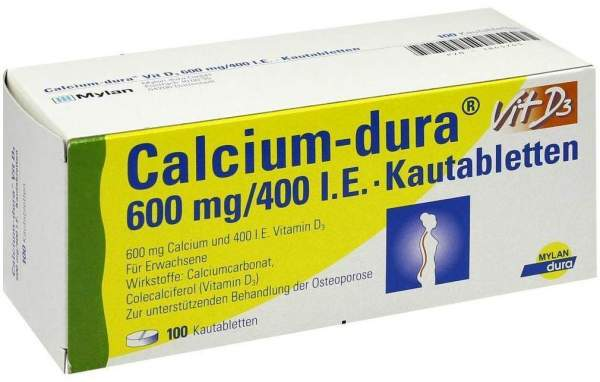 Calcium Dura Vit D3 600 mg - 400 I.E. 100 Kautabletten