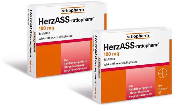 Herz Ass ratio 100mg 2 x 100 Tabletten