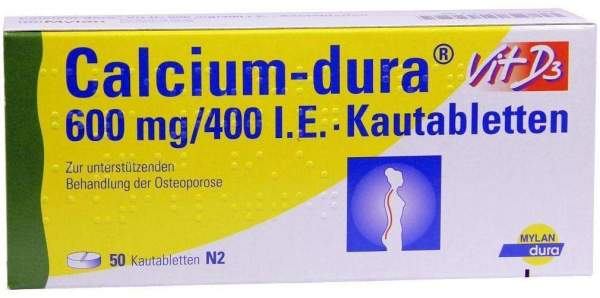 Calcium Dura Vit D3 600 mg - 400 I.E. 50 Kautabletten