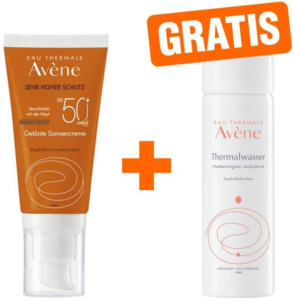 Avene Sunsitive Sonnencreme SPF 50+ getönt 50 ml + gratis Thermalwasser Spray 50 ml