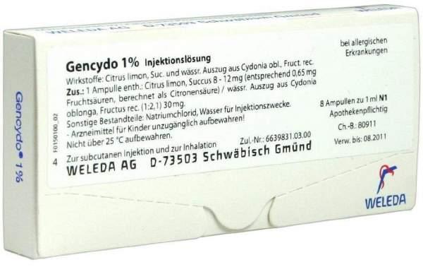 Weleda Gencydo 1% 8 Injektionslösung