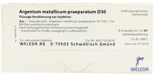 Argentum metallicum praeparatum D 30 Weleda 8 Ampullen