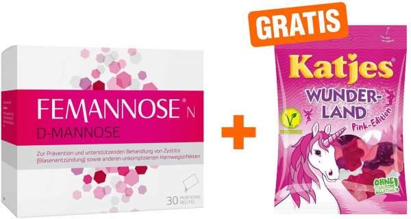 Femannose N Granulat 30 Stück + gratis Katjes Wunderland Pink-Edition 200 g