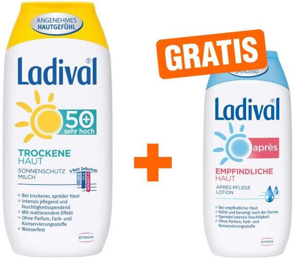 Ladival trockene Haut LSF50+ 200 ml Milch + gratis Empfindliche Haut 200 ml Après Lotion