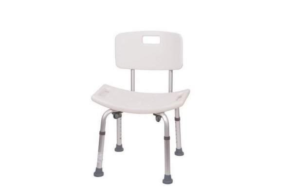Duschstuhl aus Aluminium, mitergonomischer Sitzfläche,mit Rückenlehne