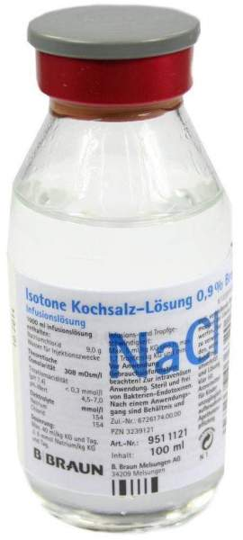 Kochsalzlösung 0,9% Glasflasche 100 ml Infusionslösung