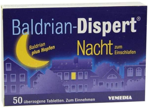 Baldrian-Dispert Nacht zum Einschlafen 50 überzogene Tabletten