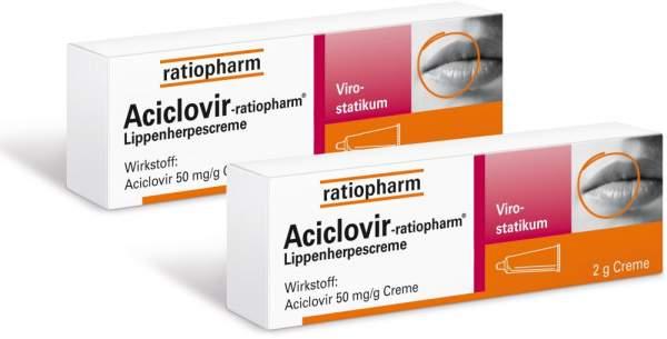 2 x Aciclovir-ratiopharm Lippenherpescreme 2 x 2 g